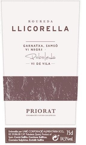 Roureda Llicorella - Poboleda - Vi de Vila (negre)